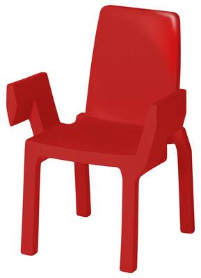 Foto Poltrona impilabile Doublix - /Laccata di Slide - Laccato rosso - Materiale plastico