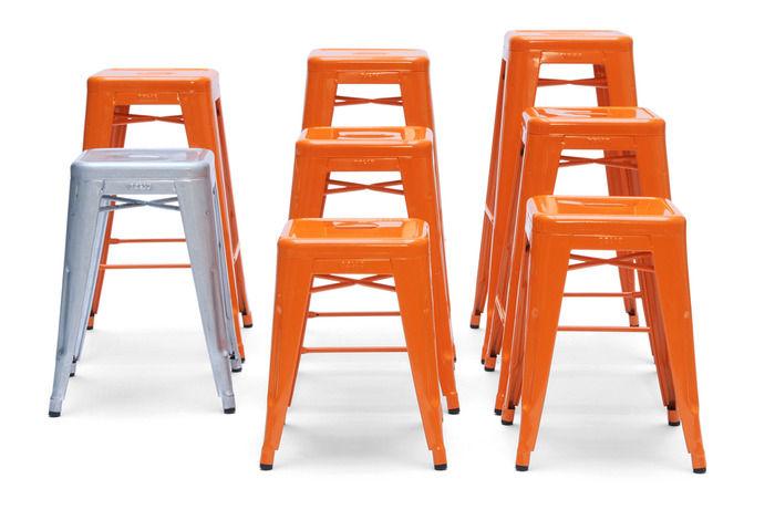 tabouret h empilable h 45 cm couleur brillante int rieur orange tolix. Black Bedroom Furniture Sets. Home Design Ideas