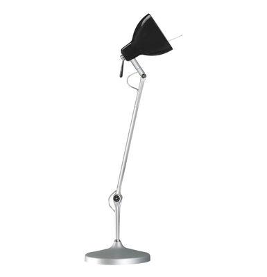Lampe de bureau Luxy T1 /Bras 3 sections - Rotaliana  Métallisé / Abat-jour noir brillant