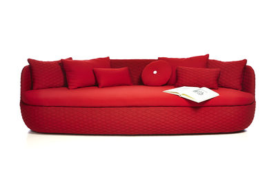 Canap droit bart l 235 cm assise profonde tissu rouge passion moooi - Canape assise profonde ...
