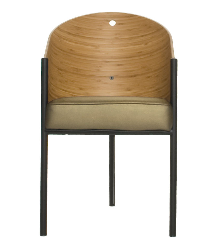 Fauteuil costes coque bois bambou pieds noirs driade - Fauteuil costes ...