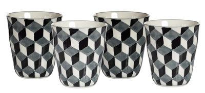 Image du produit Mug 3-D / Set de 4 - Pols Potten Blanc,Bleu,Noir en Céramique