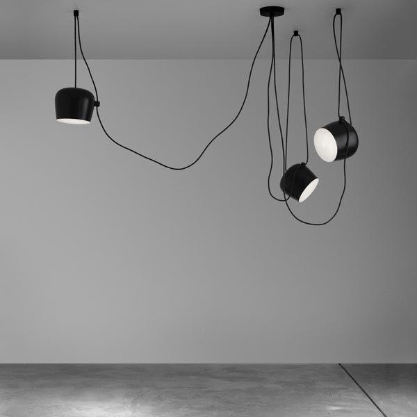 Suspension aim led 24 cm suspension noire flos - Lampe liane bouroullec ...