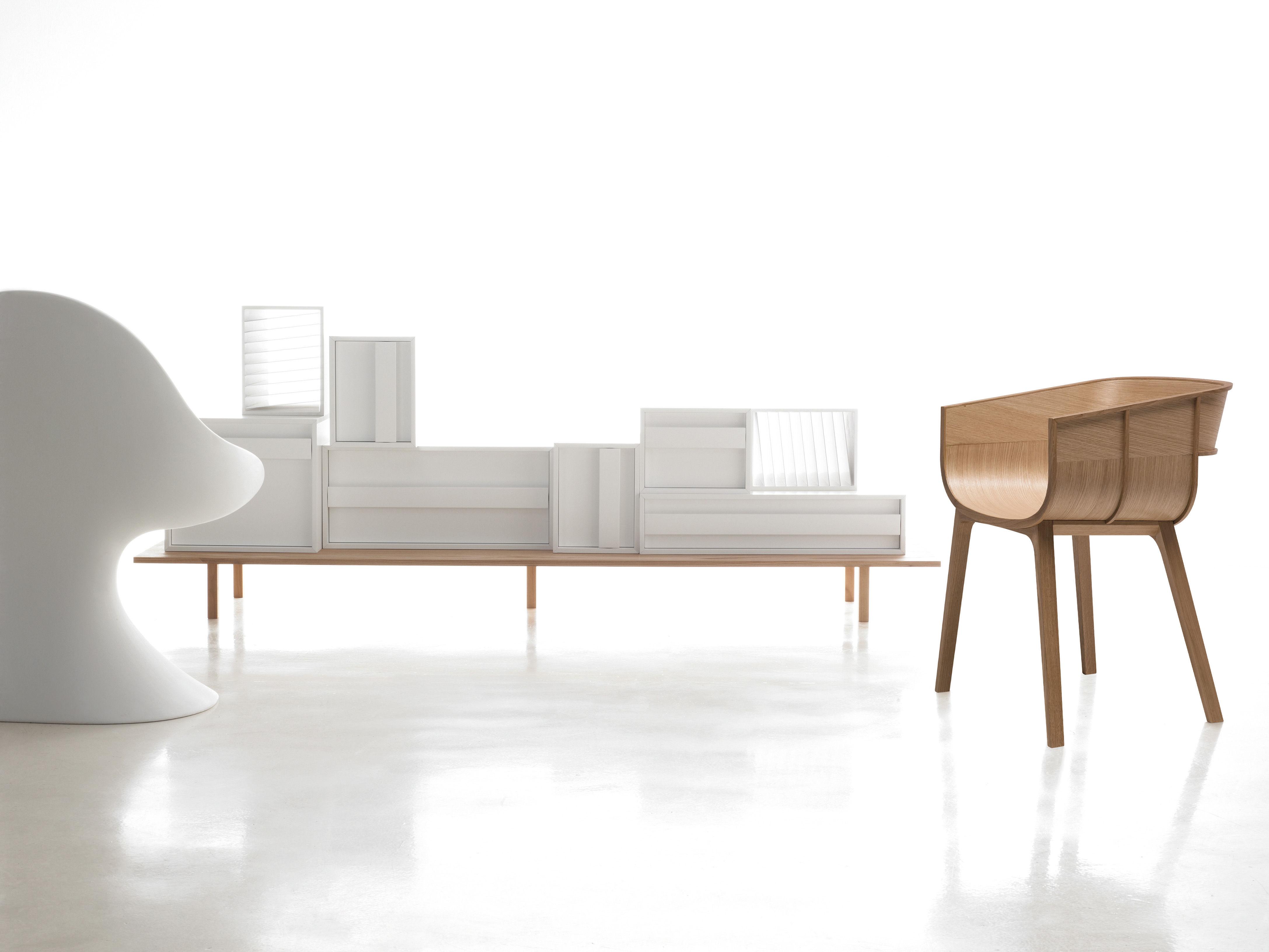 meuble de rangement container l 229 x h 89 cm mdf blanc casamania. Black Bedroom Furniture Sets. Home Design Ideas