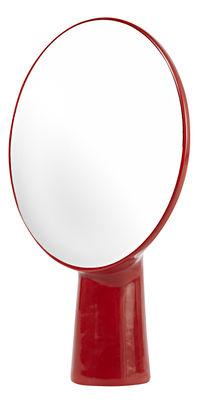 Miroir cyclope poser h 46 5 cm rouge moustache for Miroir a poser par terre
