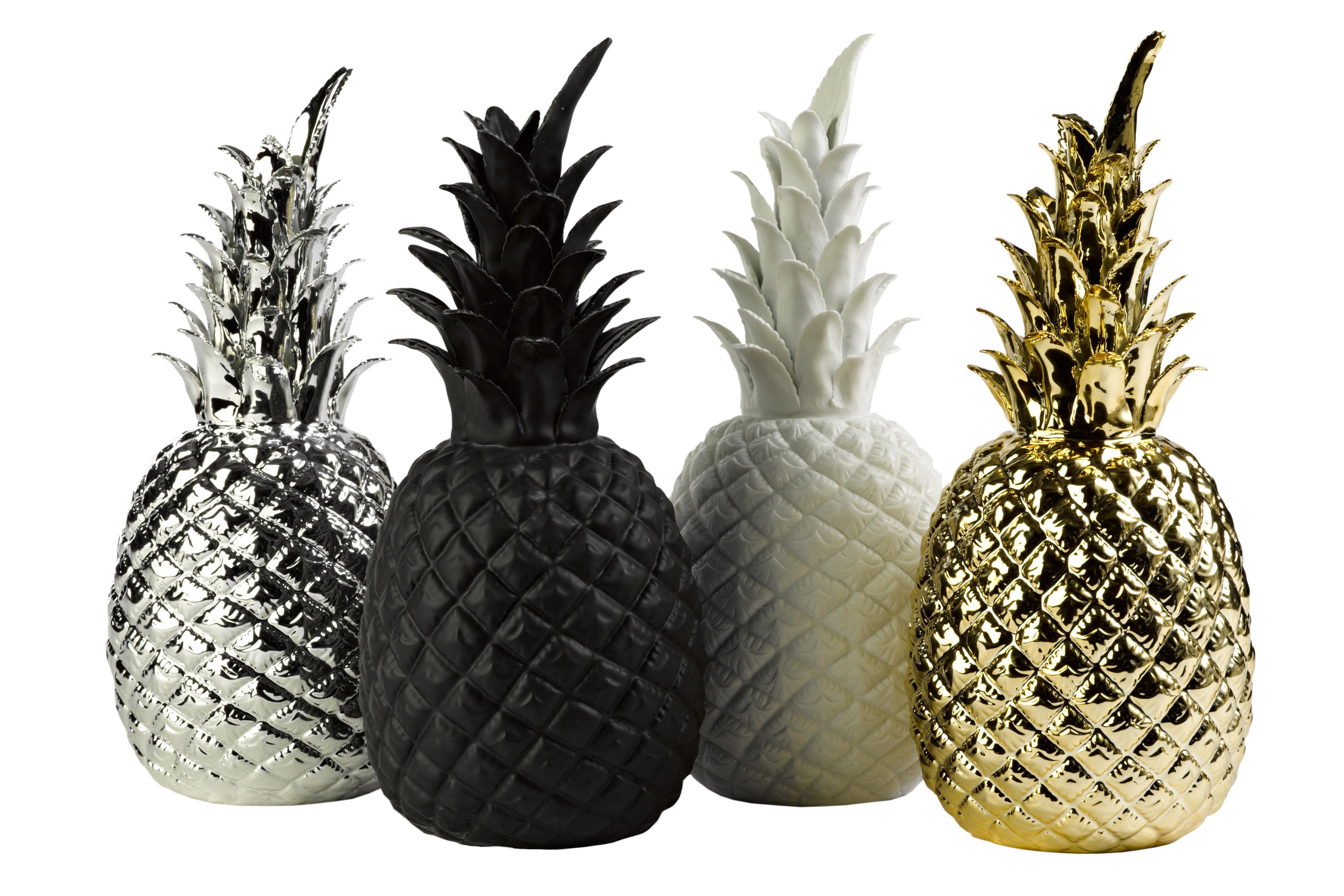 D coration pineapple porcelaine h 32 cm noir pols potten for Objet deco ananas