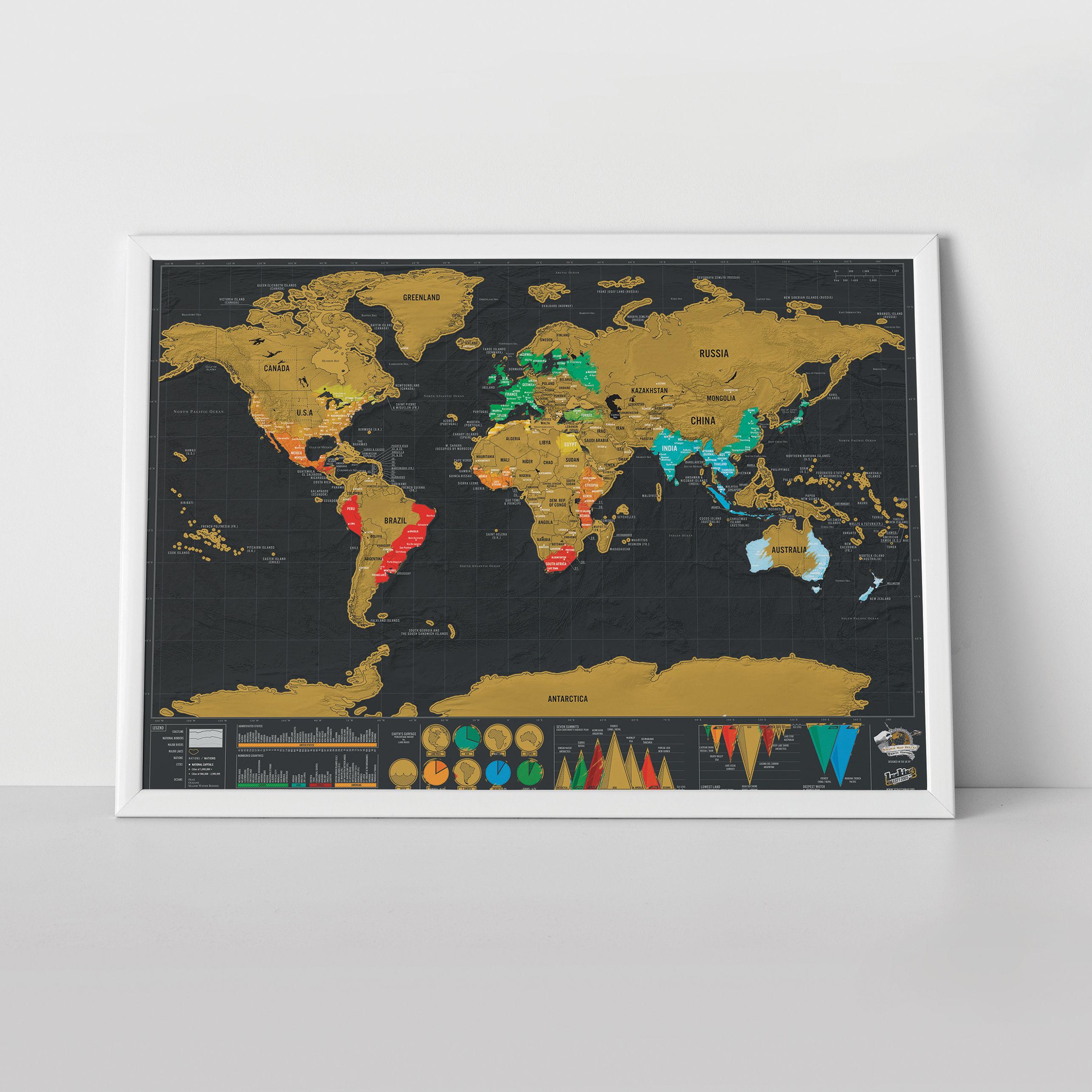 poster scratch map deluxe carte du monde gratter 82. Black Bedroom Furniture Sets. Home Design Ideas