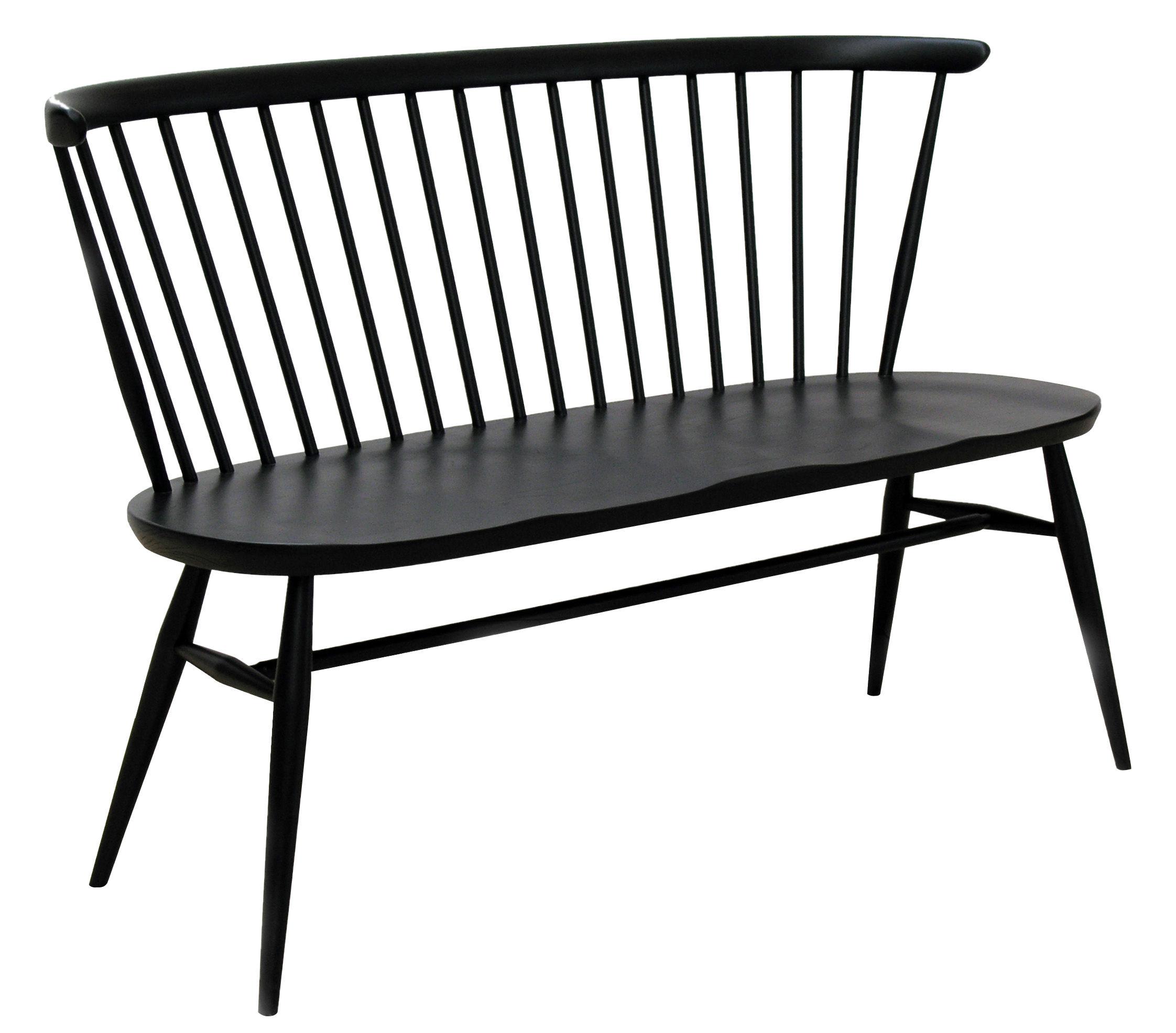 banc avec dossier love seat l 117 cm r dition 1955 bois noir ercol. Black Bedroom Furniture Sets. Home Design Ideas