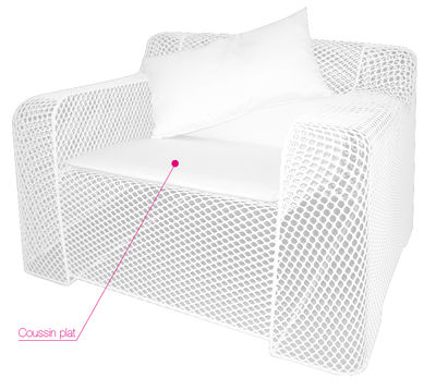 Foto Cuscino per seduta - Per poltrona Ivy di Emu - Bianco - Tessuto