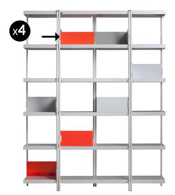 Foto Reggilibri per libreria ZigZag / Set da 4 - Driade - Arancione - Metallo Fermalibri
