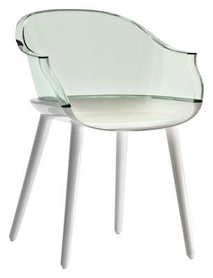 Fauteuil cyborg polycarbonate dossier vert transparent pieds blanc op - Fauteuil polycarbonate transparent ...
