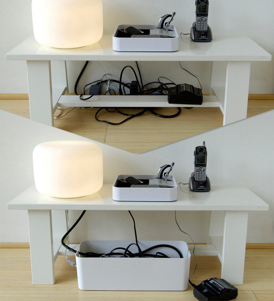 Bo te cablebox cache c bles l 40 cm blanc bluelounge - Comment cacher fils tv ...