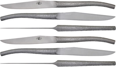 Foto Coltello da tavola Log - di Philippe Starck - Cofanetto da 6 elementi di Forge de Laguiole - Inox satinato - Metallo