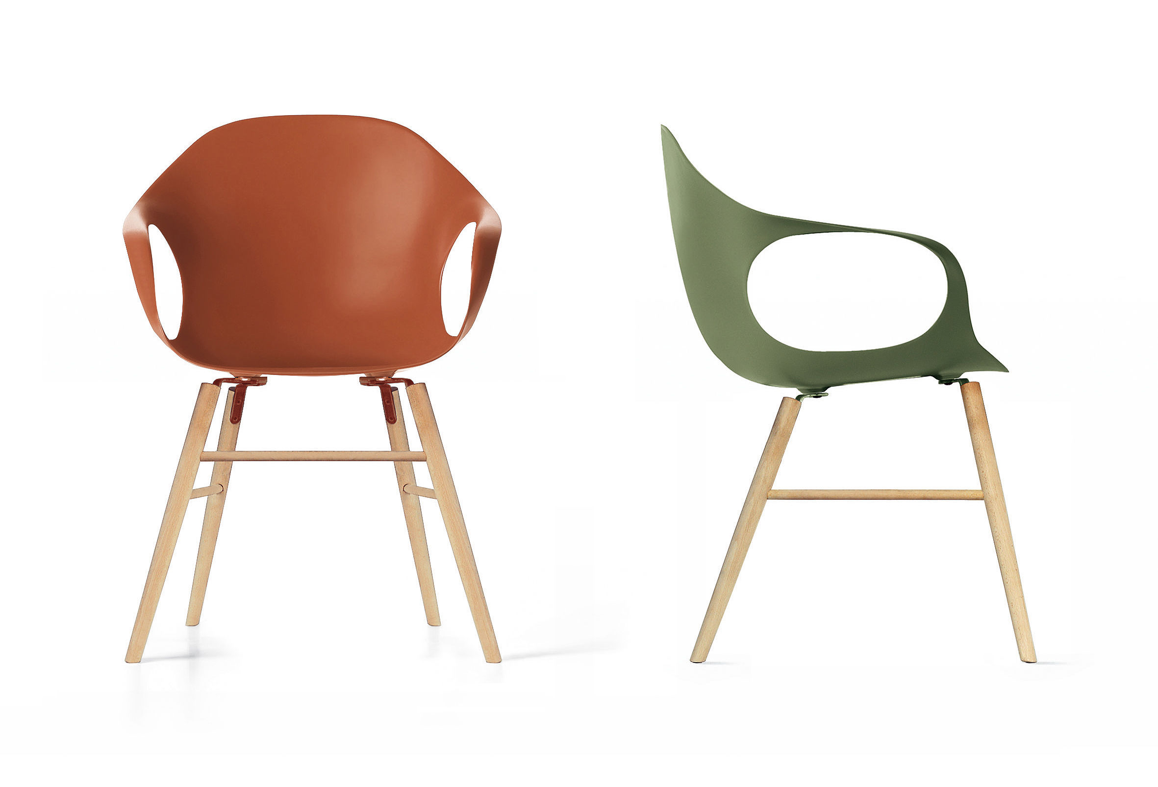 elephant wood armchair plastic shell wood legs brown by kristalia. Black Bedroom Furniture Sets. Home Design Ideas