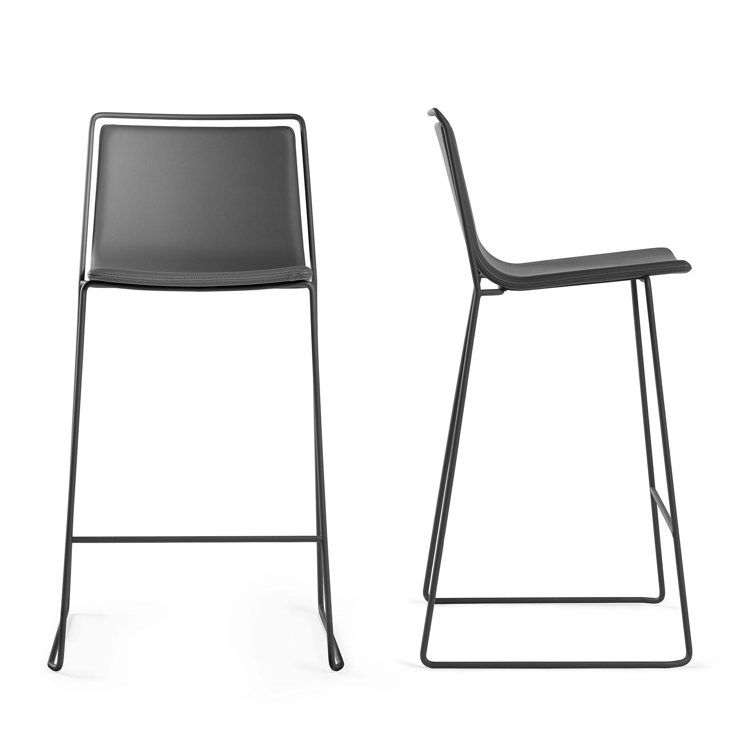 tabouret de bar alo h 65 cm similicuir anthracite. Black Bedroom Furniture Sets. Home Design Ideas