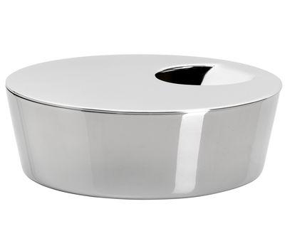 Poubelle de table ape 10 cm x h 3 5 cm inox brillant for Poubelle de table design