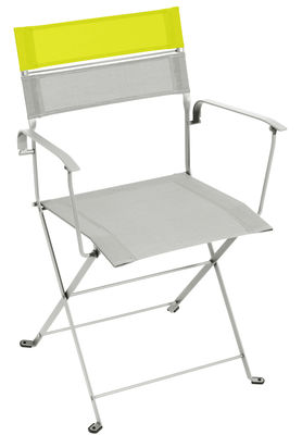 fauteuil pliant latitude toile structure gris m tal bandeau verveine fermob. Black Bedroom Furniture Sets. Home Design Ideas
