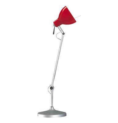 Image of Lampe de bureau Luxy T1 /Bras 3 sections - Rotaliana Métallisé / Abat-jour rouge brillant