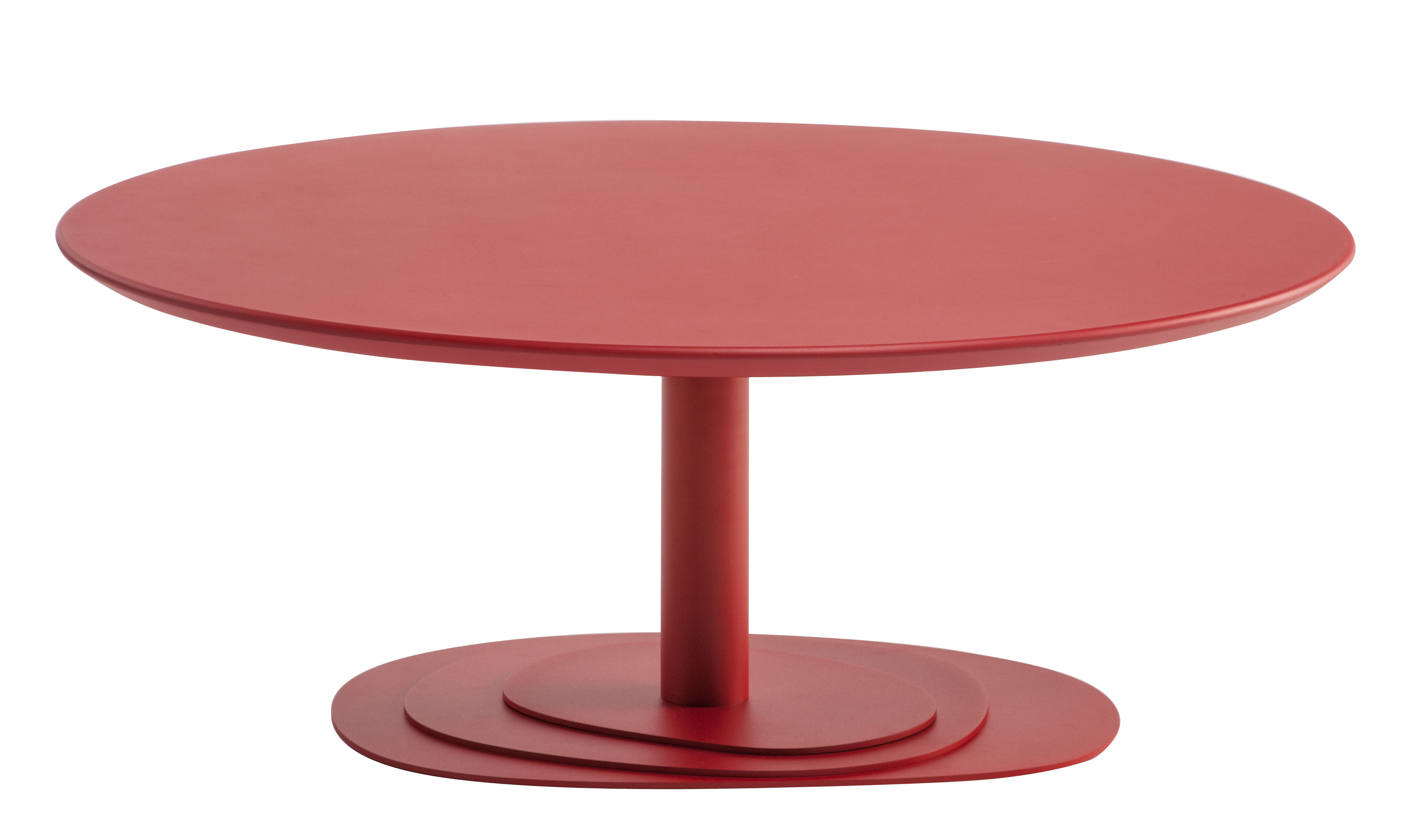 Trio Coffee Table 100 Cm Laquered Beech Top Red By Ondarreta