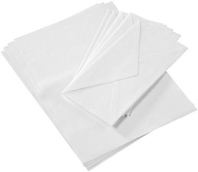 Maison Martin Margiela Cotton letter stationary note kit. / Set of 5 letters + 5 envelopes White