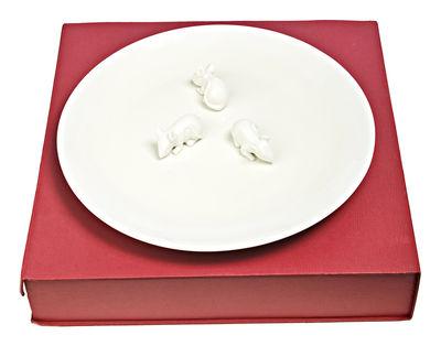 Foto Piatto di portata Mice - con topolino in rilievo - Ø 40 cm di Pols Potten - Bianco - Ceramica