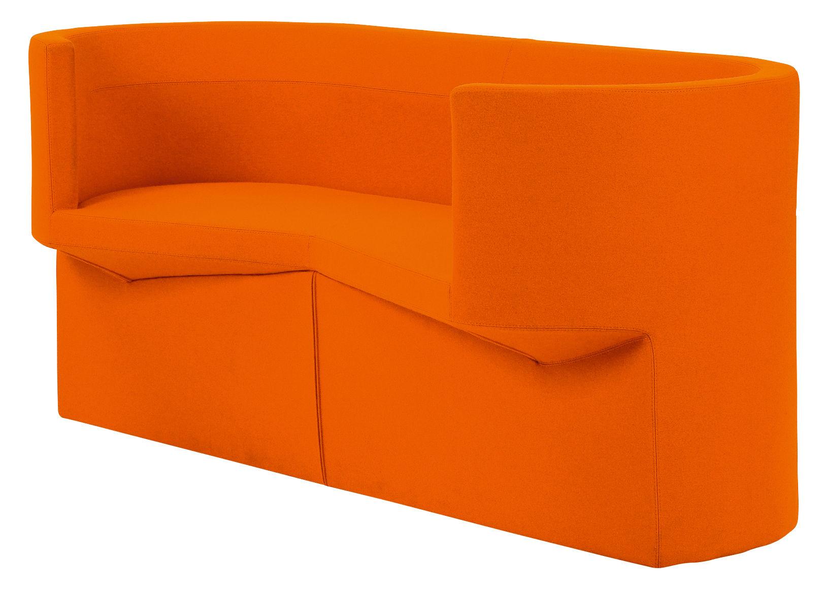 canap droit odin 2 places l 160 cm tissu orange. Black Bedroom Furniture Sets. Home Design Ideas