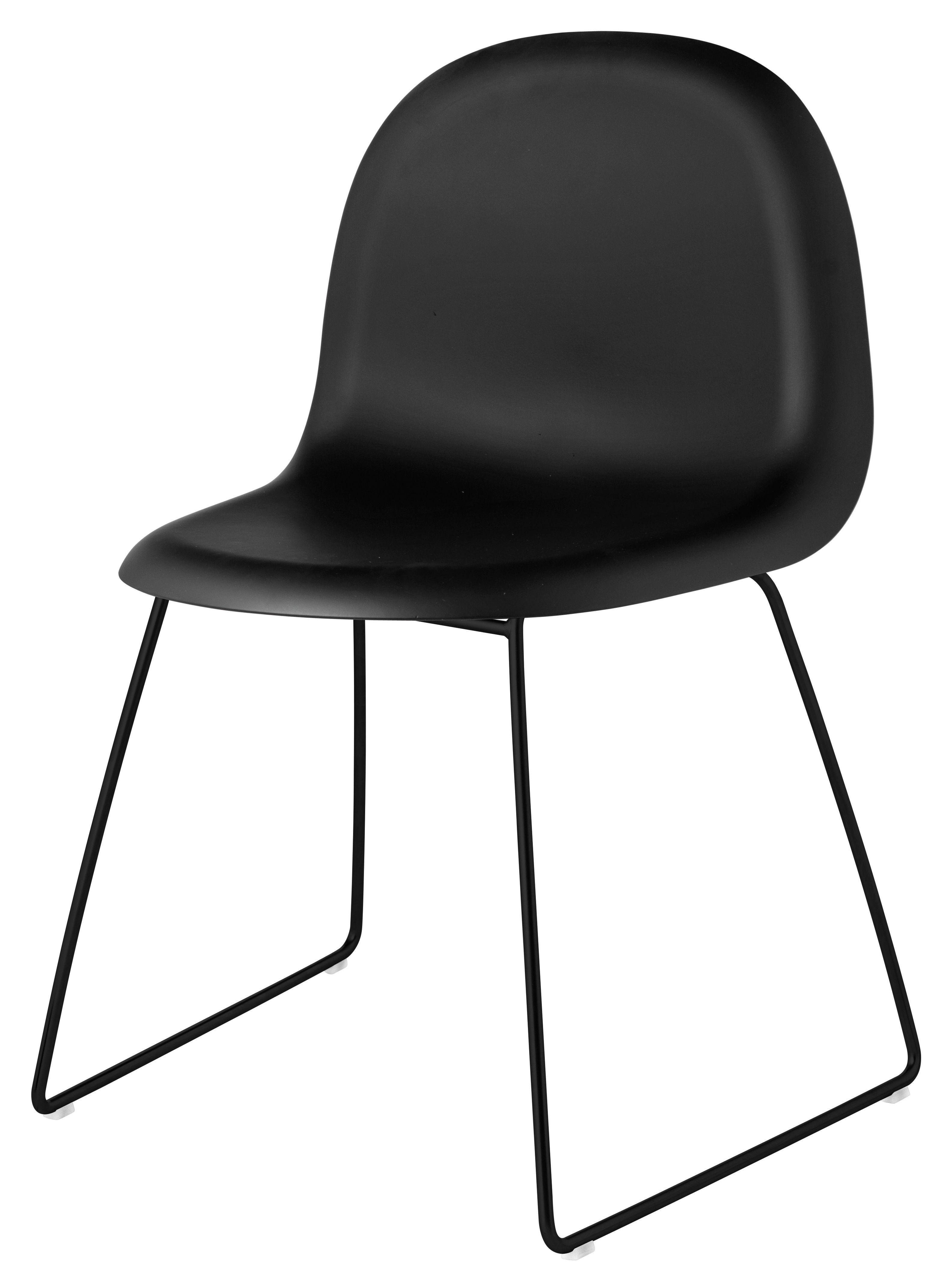 gubi 1 chair plastic shell metal legs black shell