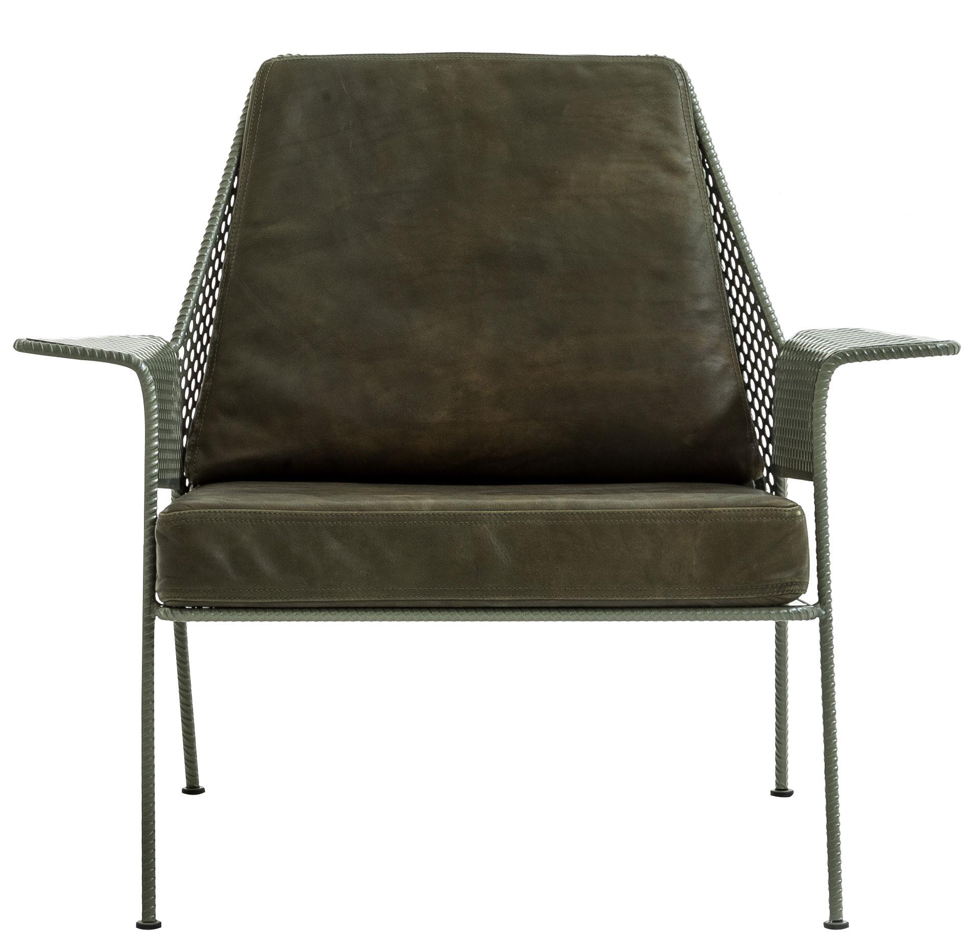 Fauteuil rembourr work is over cuir cuir vert kaki structure gris vert - Maison du monde fauteuil suspendu ...