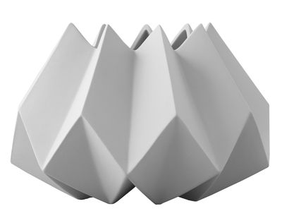 Foto Vaso Folded / Argilla - Ø 22 x H 15 cm - Menu - Grigio chiaro - Ceramica