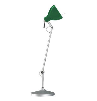 Lampe de bureau Luxy T1 /Bras 3 sections - Rotaliana  Métallisé / Abat-jour vert brillant
