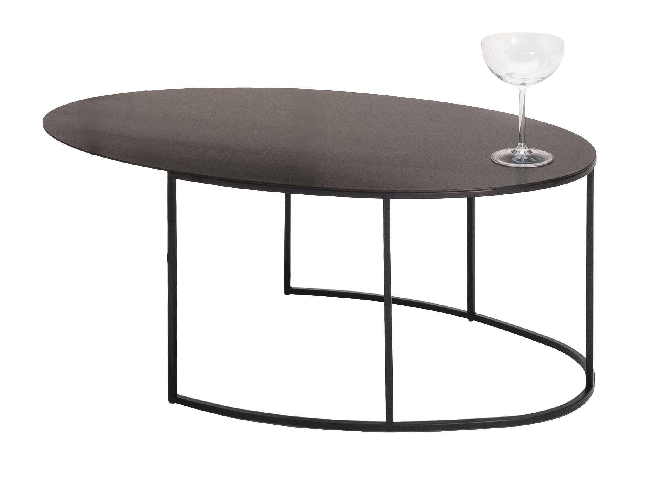 slim irony coffee table oval h 29 cm 72 x 42 black. Black Bedroom Furniture Sets. Home Design Ideas