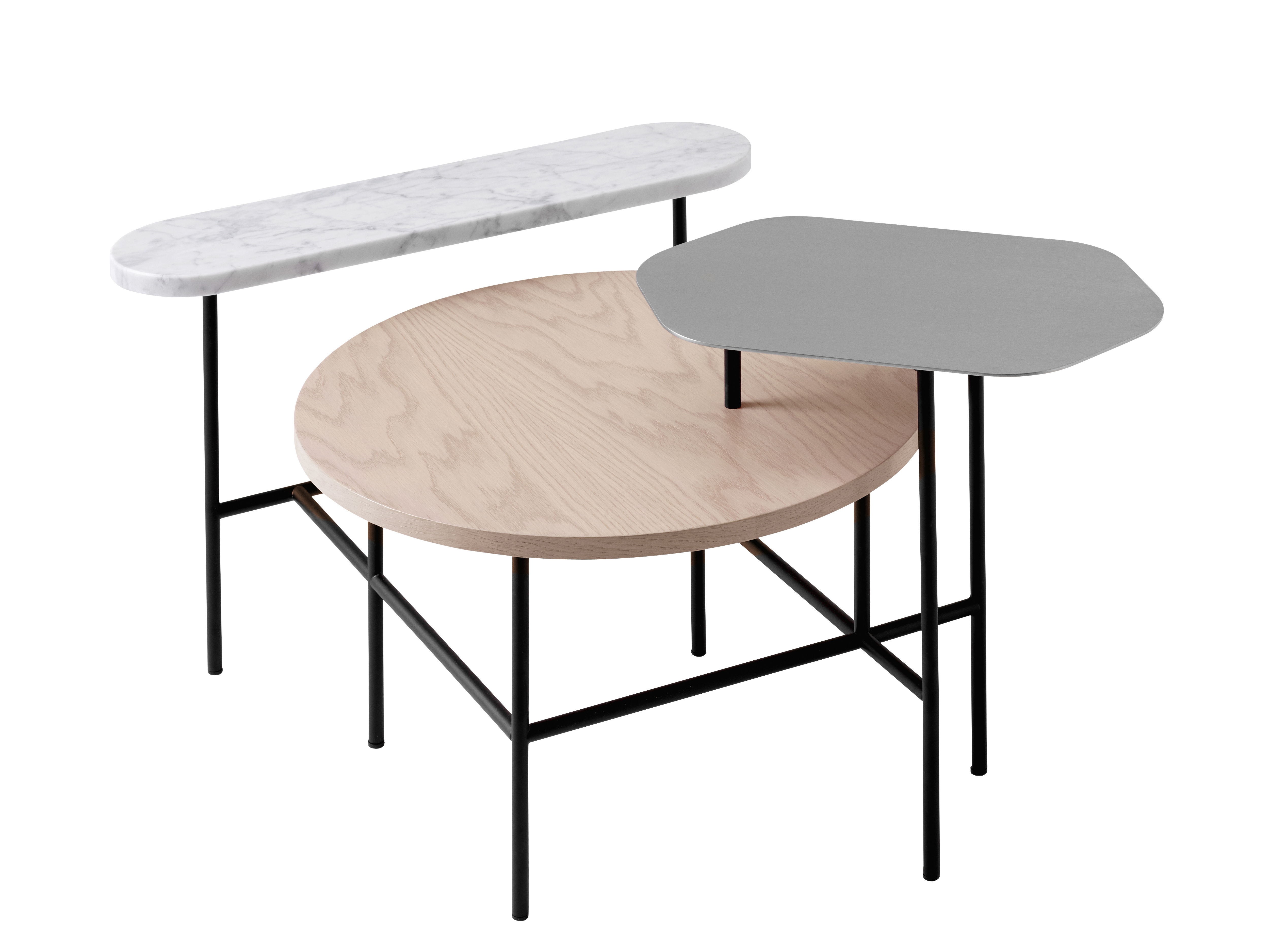 Table basse palette jh6 3 plateaux rose argent blanc for Table basse scandinave rose