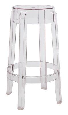 tabouret haut empilable charles ghost h 65 cm plastique cristal kartell. Black Bedroom Furniture Sets. Home Design Ideas