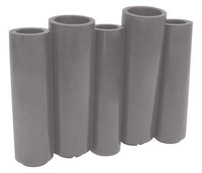 Foto Fioriera Bamboo - / L 100 x H 80 cm di Slide - Grigio - Materiale plastico