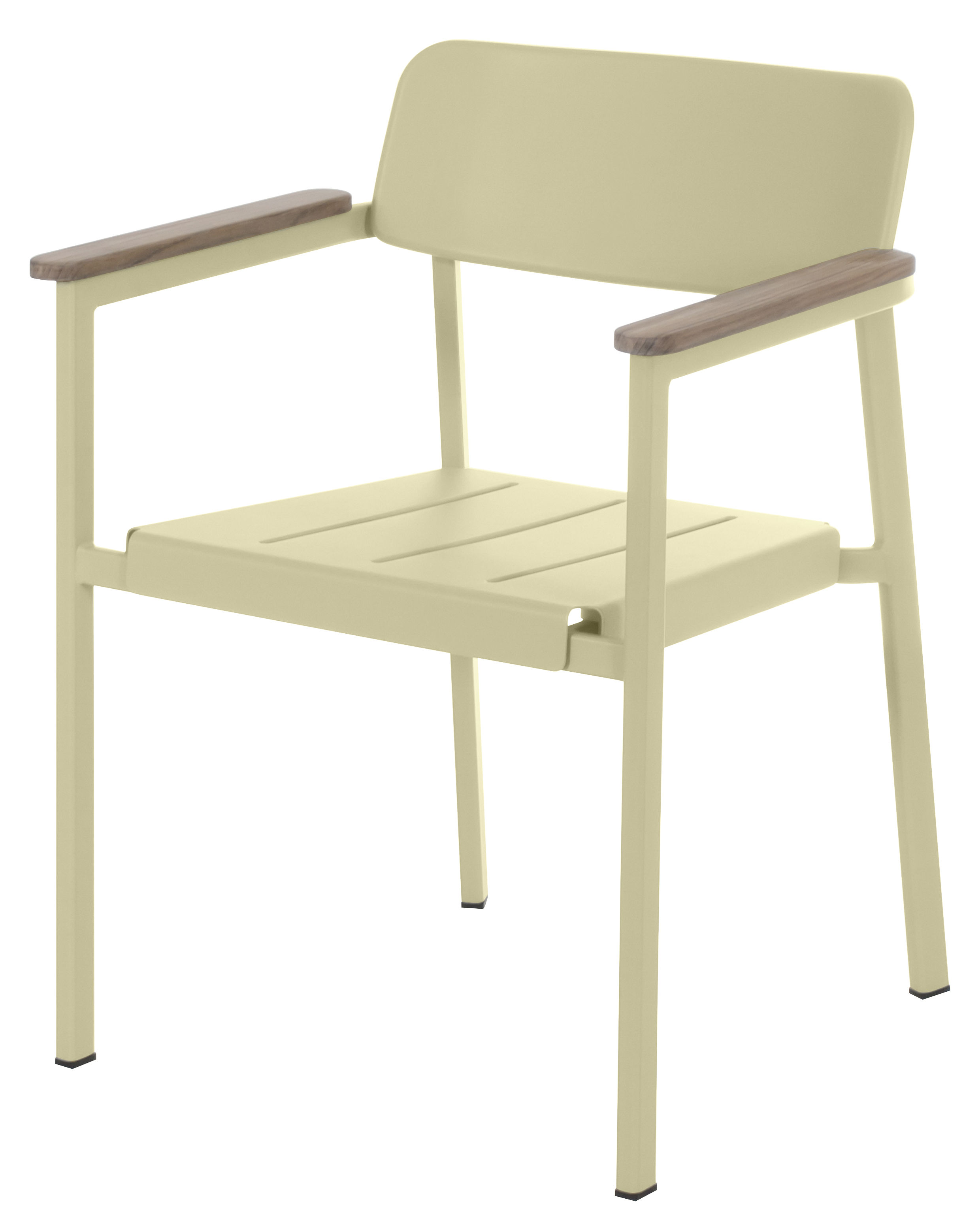 Amazing photo of Shine Stackable armchair Metal & wood armrests Turtledove by Emu with #58522E color and 2480x3055 pixels