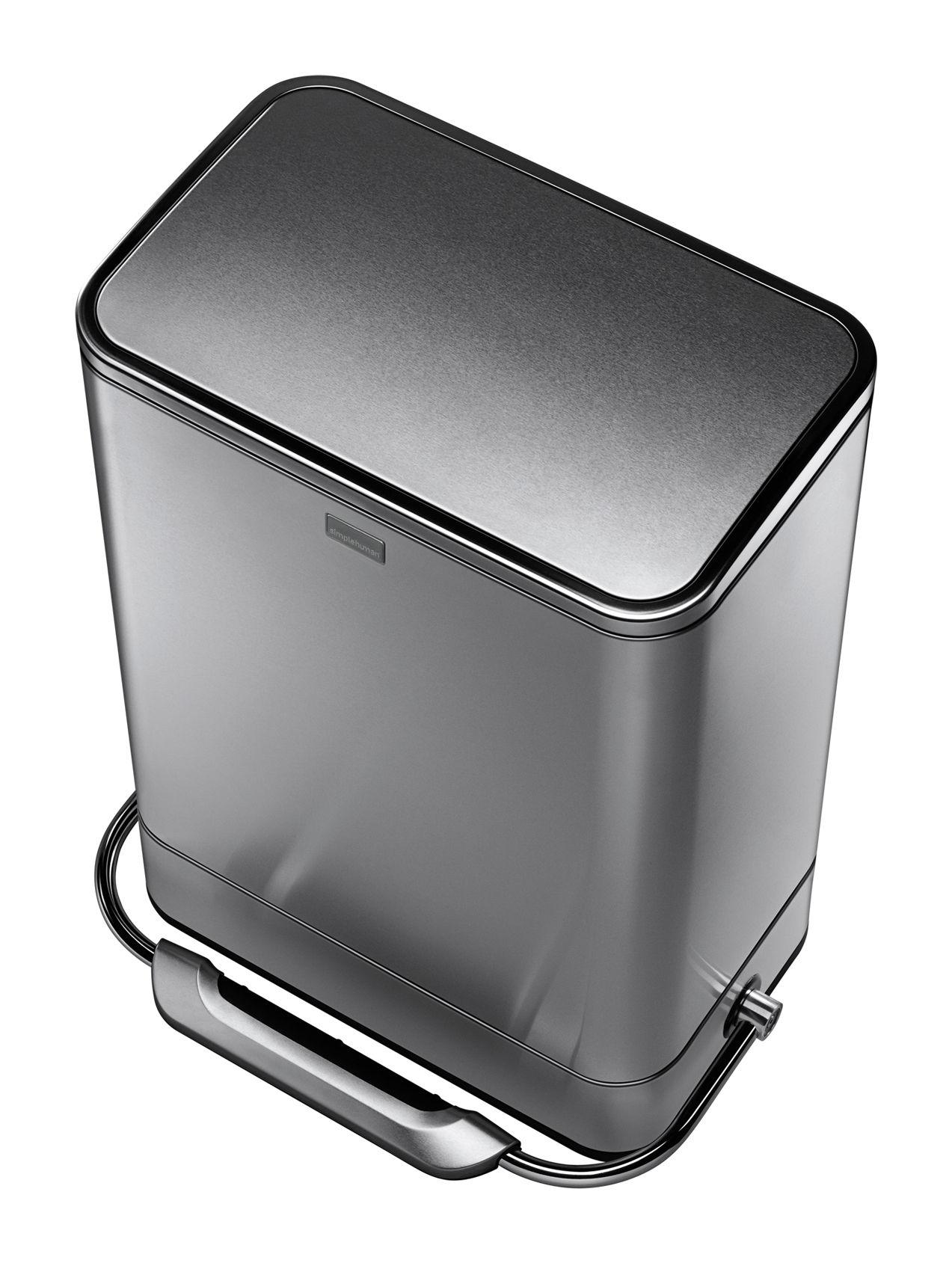 Poubelle p dale bar step can 38 l acier bross for Cuisine metal brosse