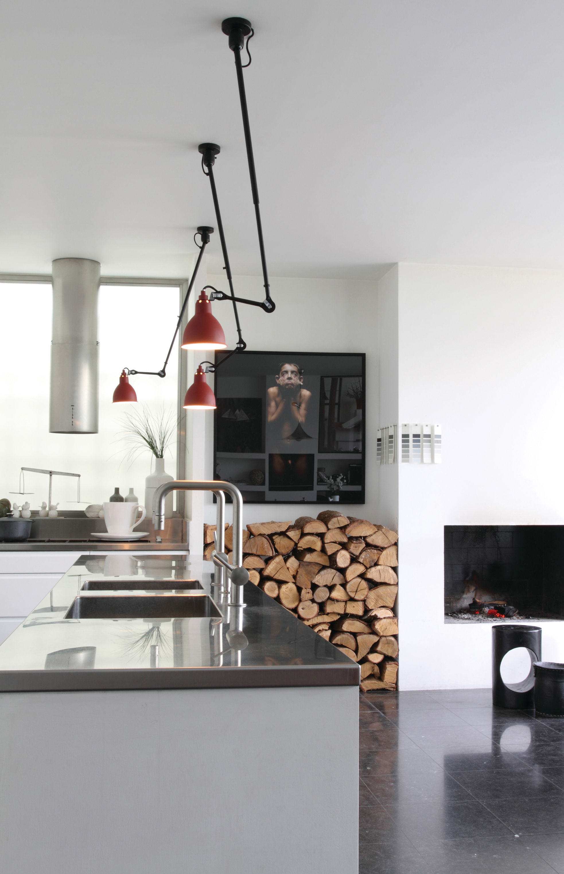 N 302 pendant ceiling lamp with telescopic arm red satin black by dcw ditions lampes gras - Dcw edities ...