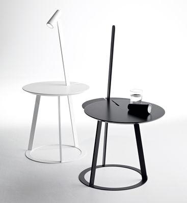 Table d 39 appoint albino avec lampe led int gr e noir horm - Table de chevet led ...