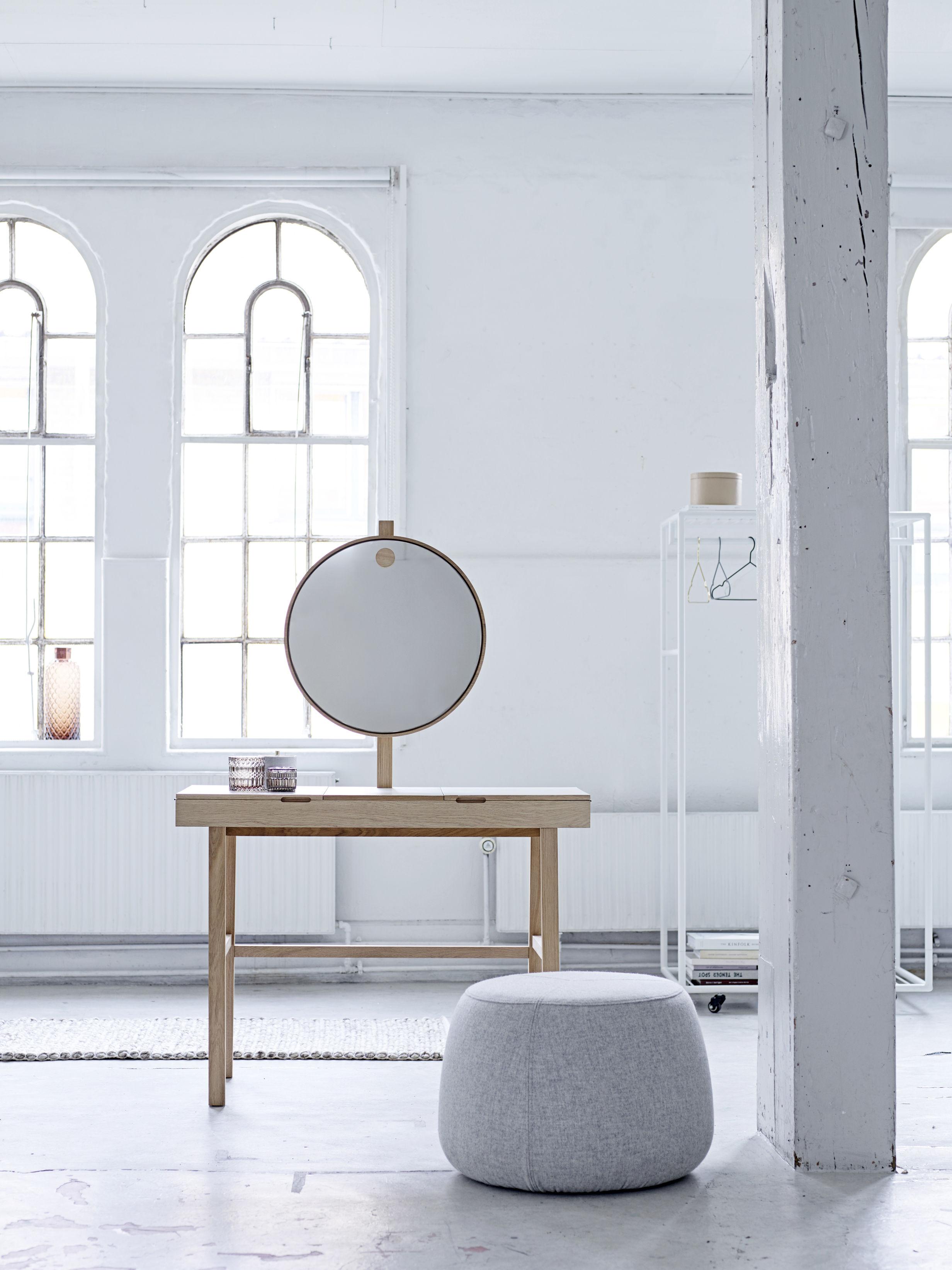 Coiffeuse phine miroir lumineux l 100 x h 75 cm bois for Coiffeuse miroir lumineux
