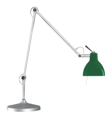 Image of Lampe de bureau Luxy T2 /Bras 4 sections - Rotaliana Métallisé / Abat-jour vert brillant