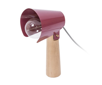 Foto Lampada da tavolo Sister / H 38 cm - ENOstudio - Legno naturale,Rouge marsala - Metallo