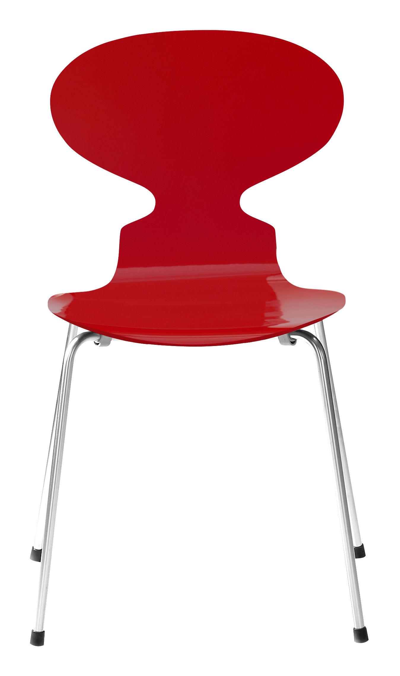 chaise fourmi 4 pieds bois laqu laqu rouge fritz hansen. Black Bedroom Furniture Sets. Home Design Ideas
