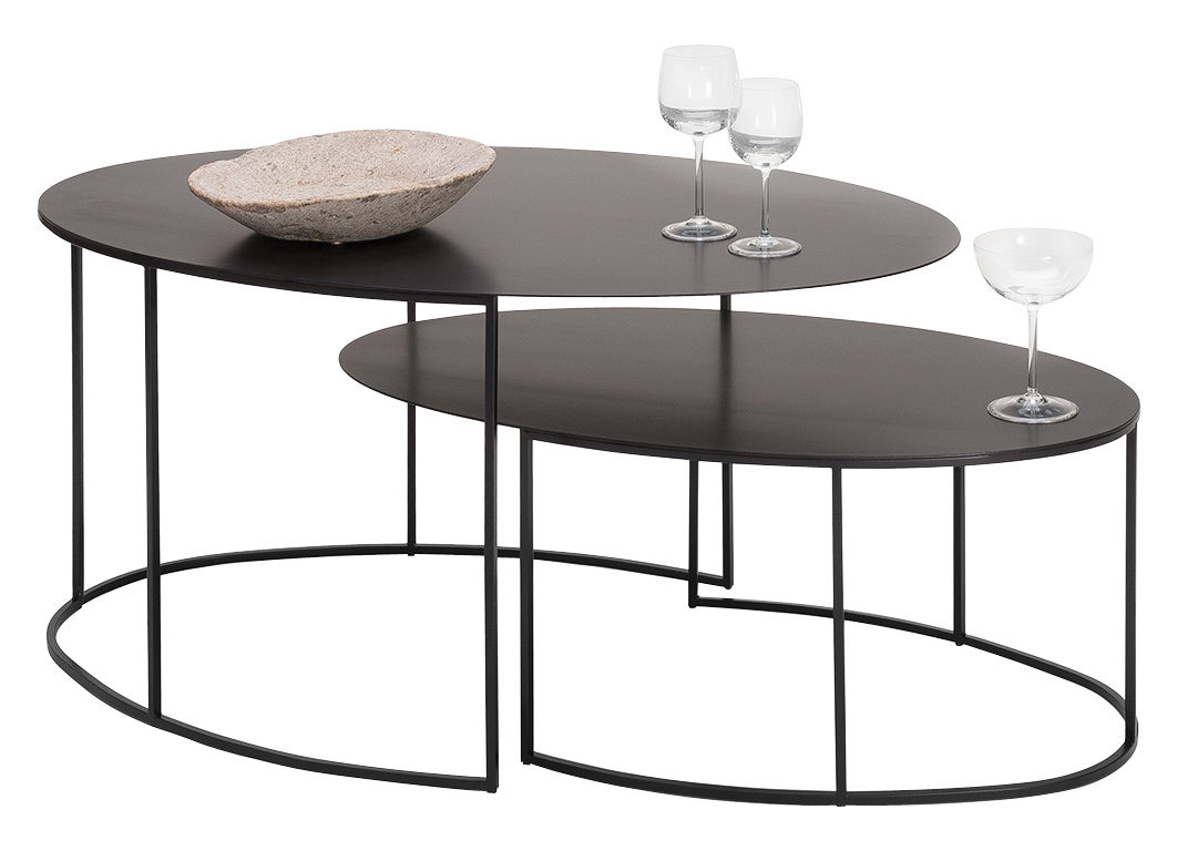 Slim Irony Coffee Table Set 2 Ovale Tables H 42 29 Cm Coppered Black By Zeus
