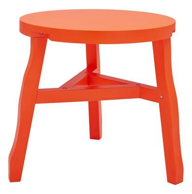 Foto Tavolino Offcut / Legno - Ø 51 x H 46 cm - Tom Dixon - Arancione fluorescente - Legno Tavolino d'appoggio