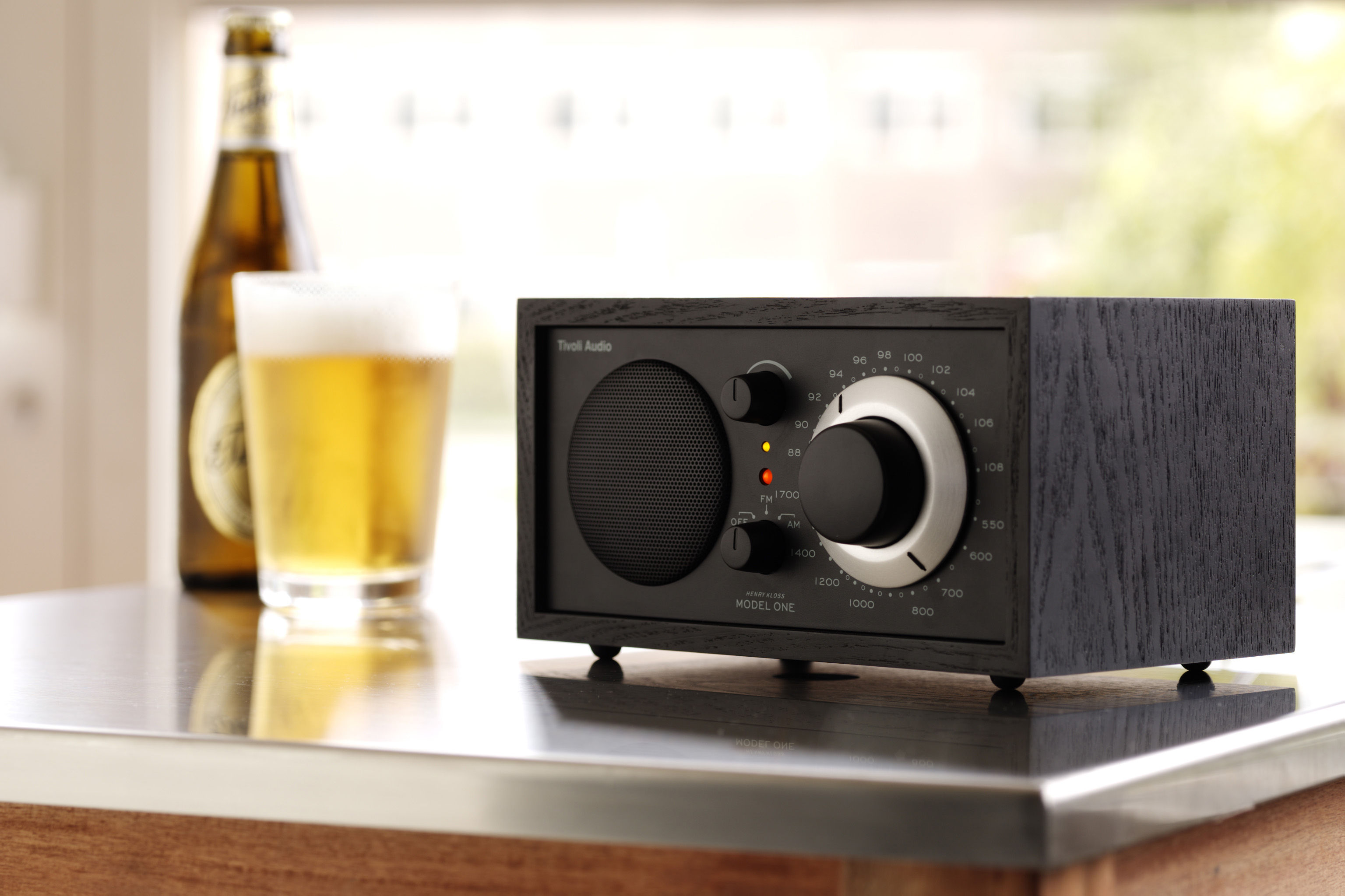 model one radio speaker compatible with ipod silver walnut by. Black Bedroom Furniture Sets. Home Design Ideas