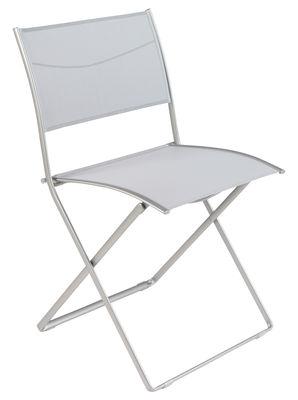chaise pliante plein air toile gris anodique fermob. Black Bedroom Furniture Sets. Home Design Ideas