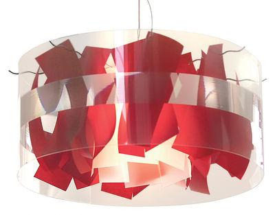 Foto Sospensione Holo Macao - Ø 64 cm di Dix Heures Dix - Bianco,Rosso - Materiale plastico
