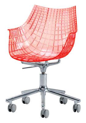 Driade Meridiana Desk chair. Transparent red