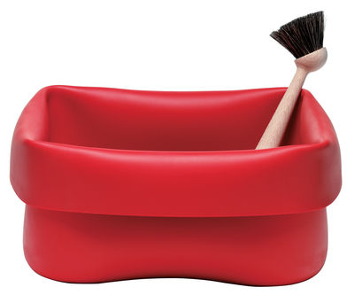 Normann Copenhagen Washing-up Bowl Bowl - Set: 1 washing up bowl + 1 brush. Red