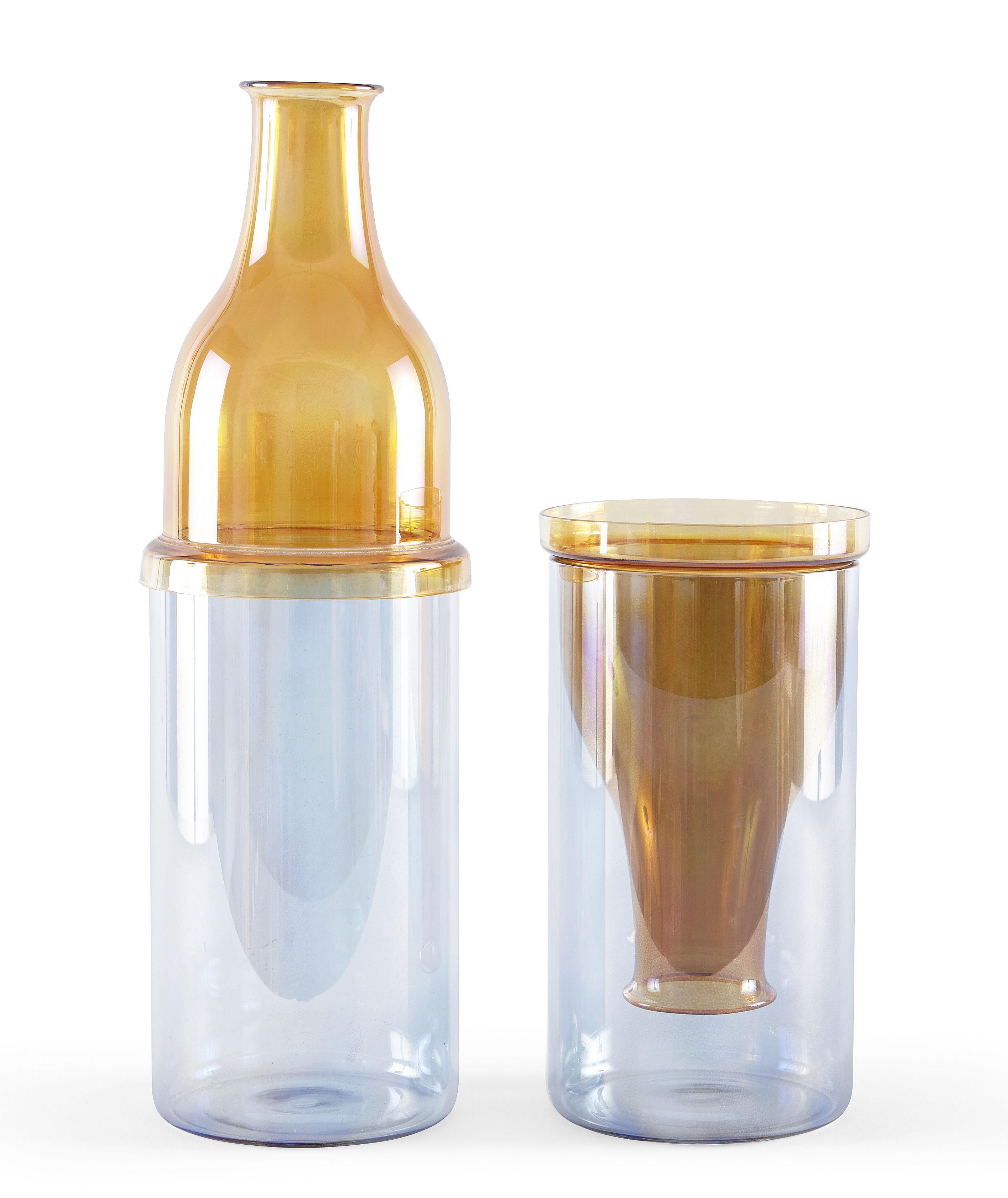 sunset haut vase glass 12 x h 36 5 cm amber blue. Black Bedroom Furniture Sets. Home Design Ideas